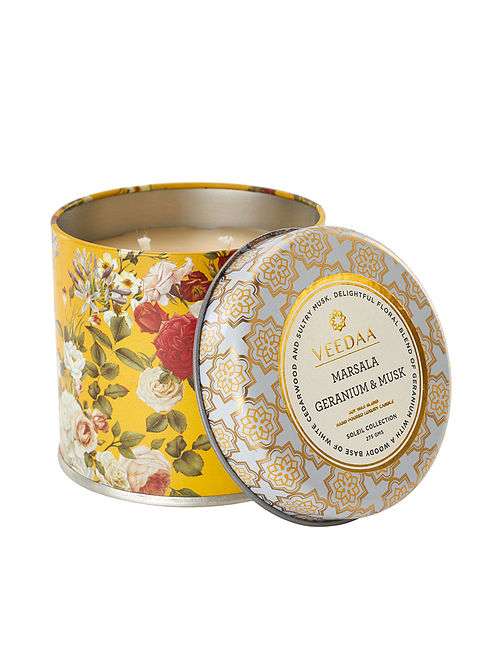 Marsala Geranium and Musk Mason Tin Scented Candle (Dia:3in, H:3in)