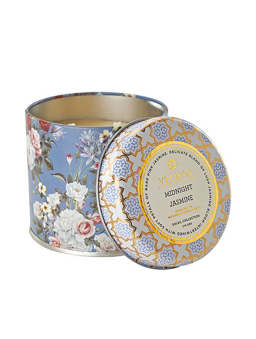 Midnight Jasmine Mason Tin Scented Candle (Dia:3in, H:3in)