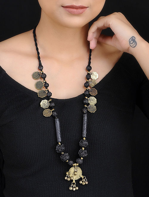 Black Gold Tone Rudraksh Beaded Handcrafted Thread Necklace with Coins