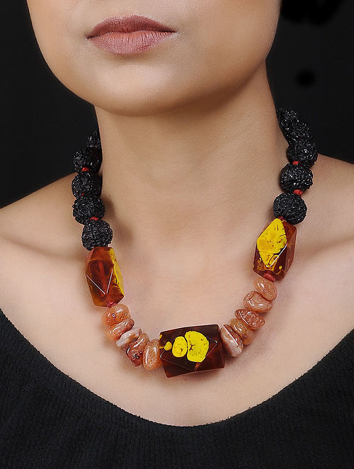 Carnelian and Rudraksh Handcrafted Beaded Necklace