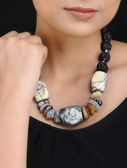 Agate and Rudraksh Handcrafted Beaded Necklace