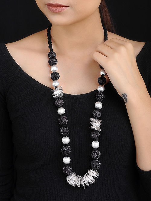 Black Rudraksh Handcrafted Beaded Necklace