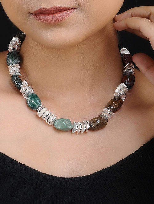 Agate Silver Plated Handcrafted Necklace