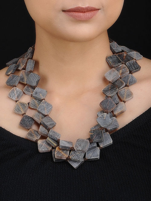Grey Brown Handcrafted Layered Necklace