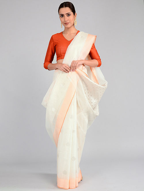 Ivory Kota Doria Saree with Zari