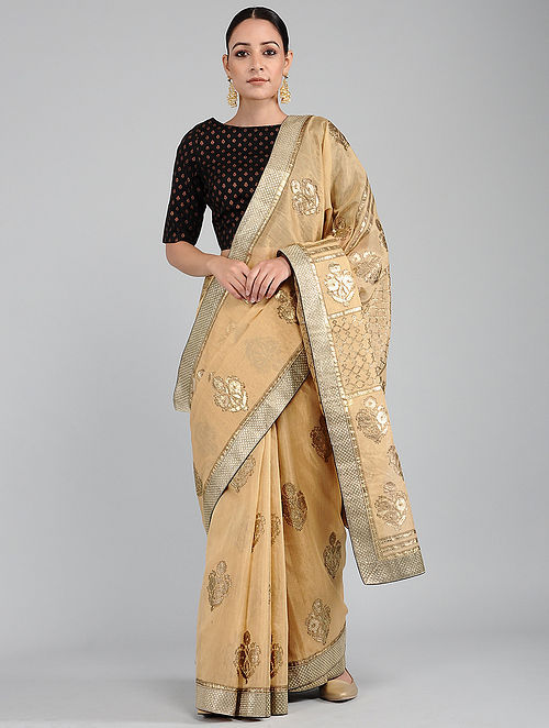 Beige Foil-printed Tissue Chanderi Saree