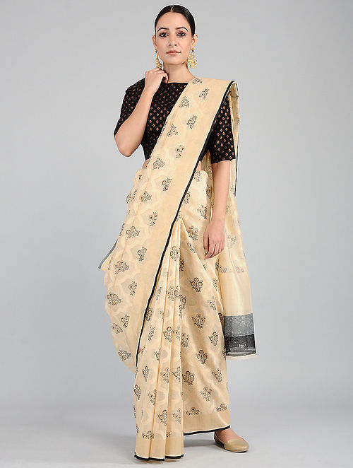 Beige-Black Benarasi Cotton Saree
