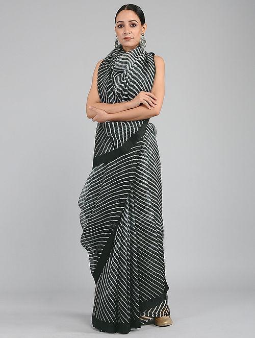 Black-Ivory Leheriya Kota Silk Saree