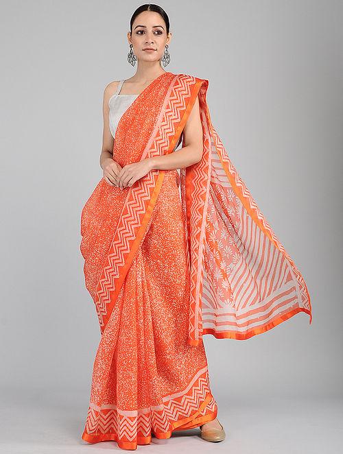 Orange-Ivory Batik-printed Kota Silk Saree