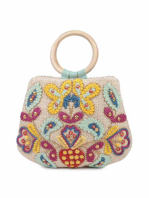 Multicolored Handcrafted Cotton Clutch with Wooden Handle