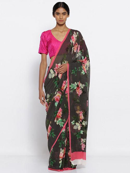 ba279dc3c30f7d Buy Black-Pink Printed Chiffon Saree Online at Jaypore.com