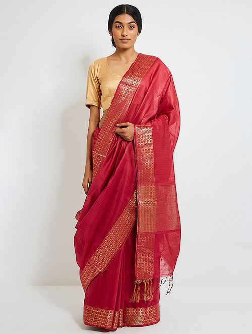 b9e3474eb2 Buy Pink Tussar Silk Saree with Zari Online at Jaypore.com