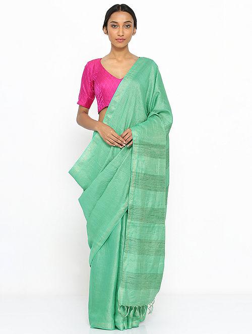 84c0aa779e Buy Green Tussar Silk Saree Online at Jaypore.com