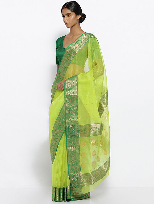 d595b3892378a0 Buy Green Silk Saree with Zari Online at Jaypore.com