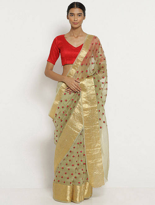 Pista-Red Embroidered Organza Silk Saree with Zari