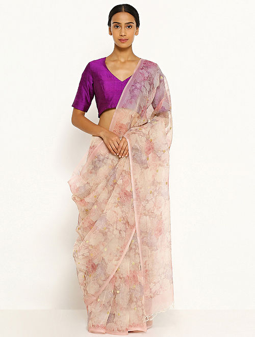 25b4584c92 Buy Ivory Printed Organza Silk Saree Online at Jaypore.com