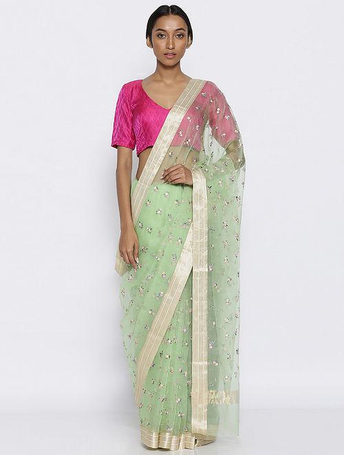 Green Embroidered Organza Silk Saree