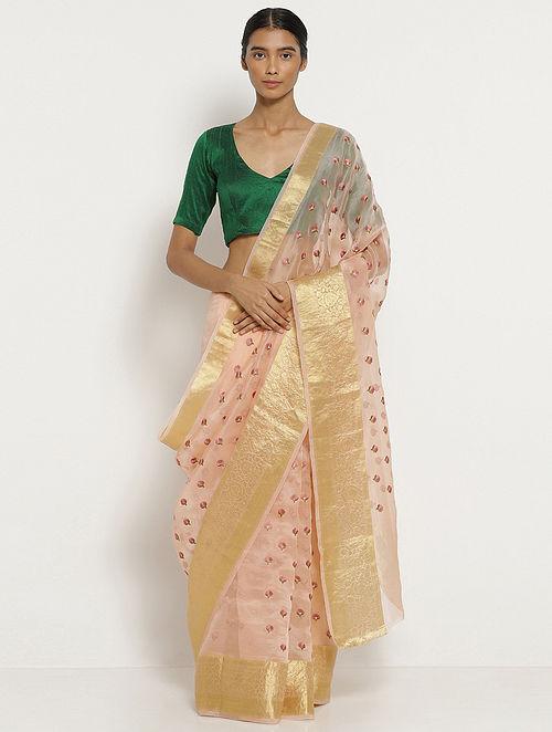 Pink Embroidered Organza Silk Saree with Zari
