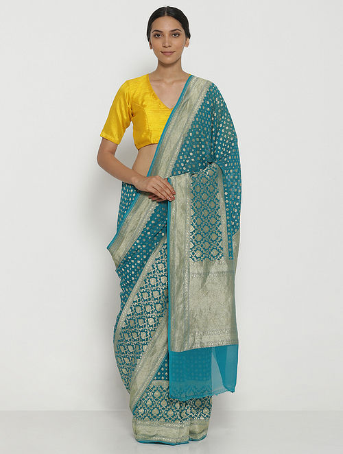 Blue Benarasi Georgette Saree with Zari