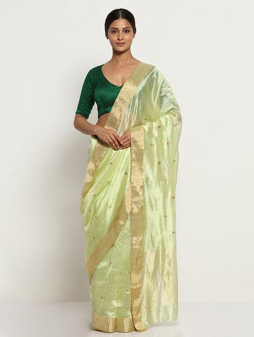 Green Silk Saree with Zari