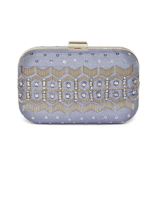 cb4651350f1 Buy Silver Embroidered Dupion Silk Clutch Online at Jaypore.com