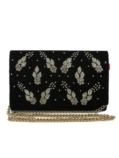 Black Embellished Velvet Clutch with Crystals