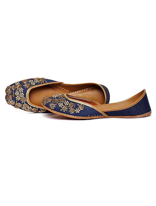 Navy Blue Zari Embroidered Dupion Silk and Leather Juttis