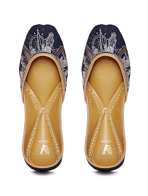 Blue-Silver Embroidered Dupion Silk And Leather Juttis with Cut Dana Work