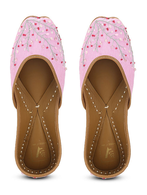 Pink Embellished Dupion Silk and Leather Juttis