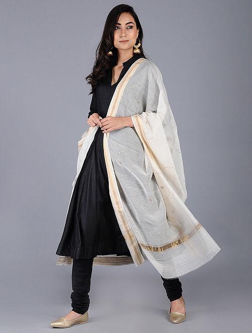 Ivory Cotton Silk Dupatta with Mukaish and zari border
