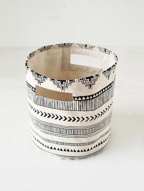 Black-White Aztec Print Canvas Storage Basket