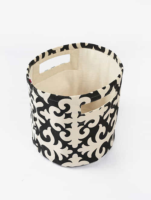 Black-White Morocco Print Canvas Storage Basket