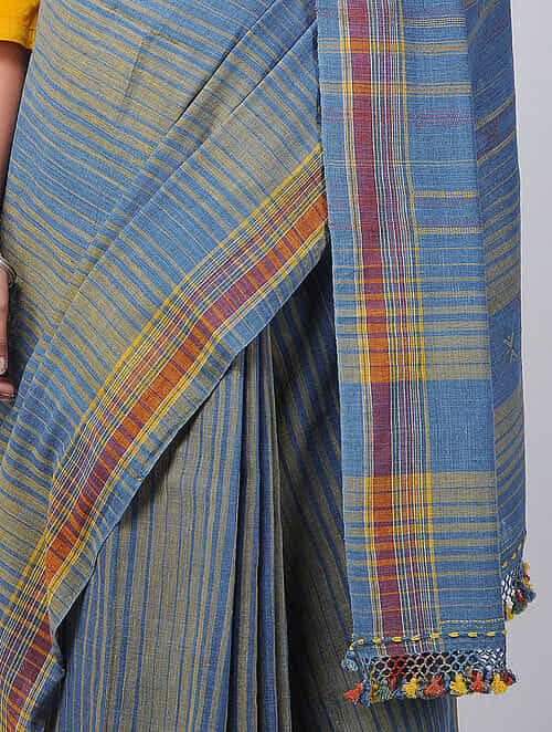 Blue-Red Kala Cotton Saree with Tassels