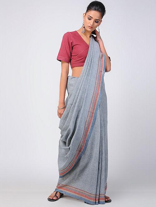 dd558c56c5e Buy Blue-Red Kala Cotton Saree with Tassels Online at Jaypore.com