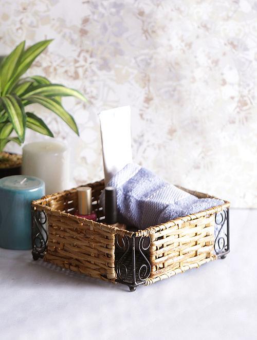 97592f80 Handcrafted Bamboo Wicker Multipurpose Basket (L:7in x W:7in x H:2.5in)