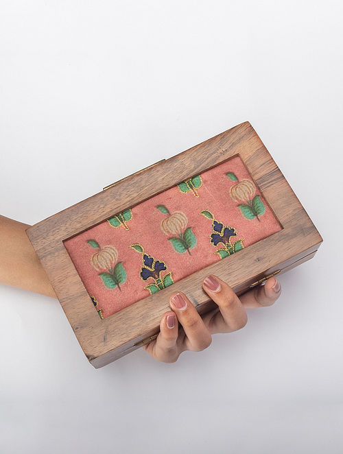 Onion Pink Handcrafted Printed Wooden Frame Clutch