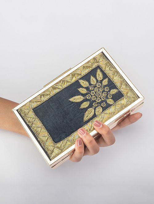 Teal blue Handcrafted Zardosi Embroidered Iron Frame Clutch