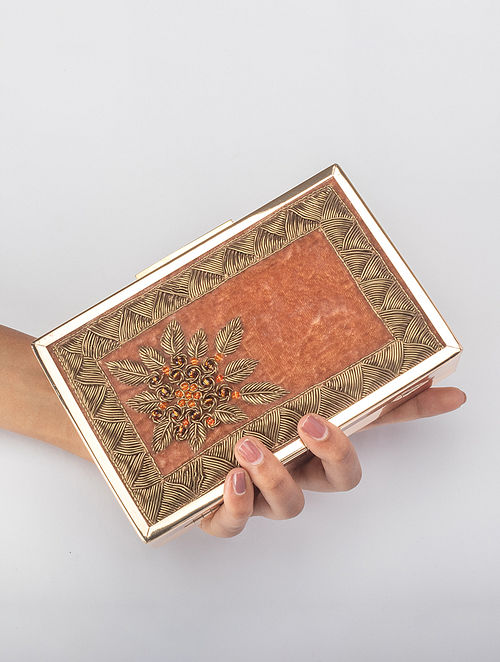 Rust Orange Handcrafted Zardosi Embroidered Iron Frame Clutch