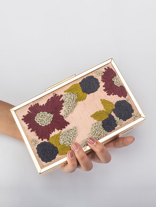 Powdered pink Handcrafted Embroidered Iron Frame Clutch