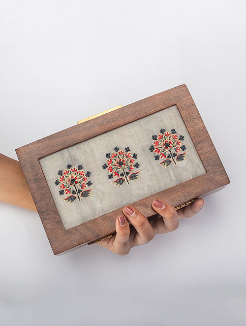 Grey Handcrafted Zari Wooden Frame Clutch