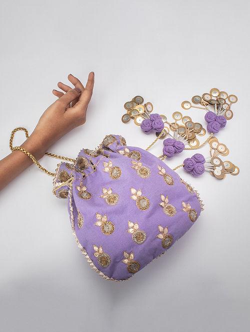 Purple Handcrafted Gota Work Silk Potli