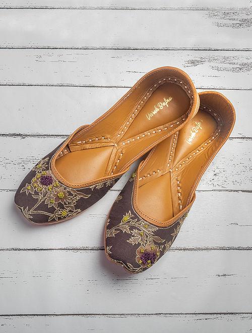 Brown Hand Embroidered Printed Cotton Satin Jutti