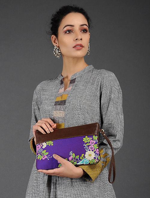 Multicolored Cotton Silk Hand Embroidered Pouch