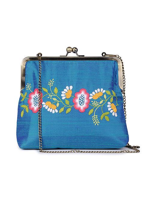 Blue Hand Embroidered Parsi Work Batuwa Sling