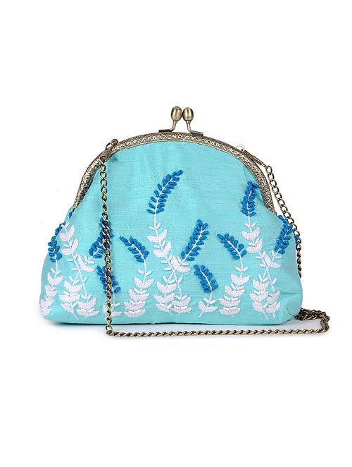 Blue - White Hand Embroidered Parsi Work Batuwa Sling