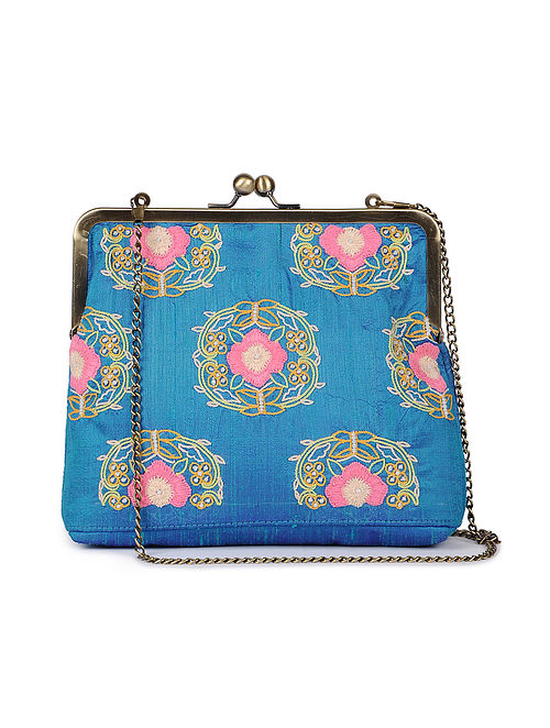 Blue - Pink Hand Embroidered Parsi Work Batuwa Sling