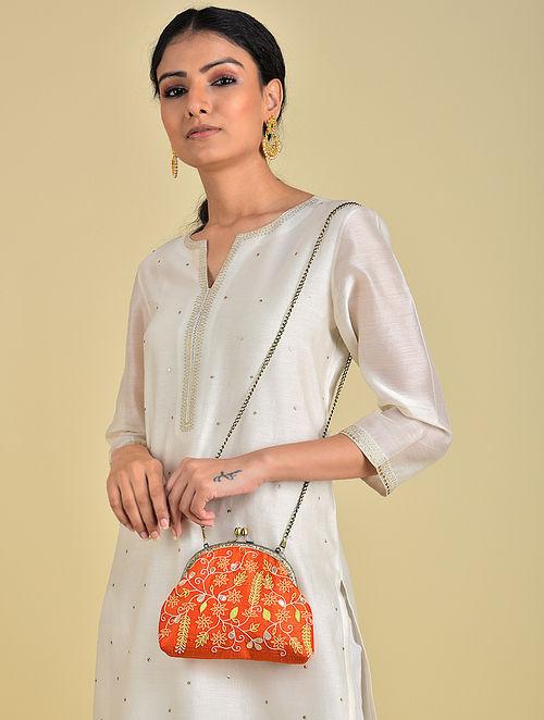 Orange - Green Hand Embroidered Parsi Work Batuwa Sling