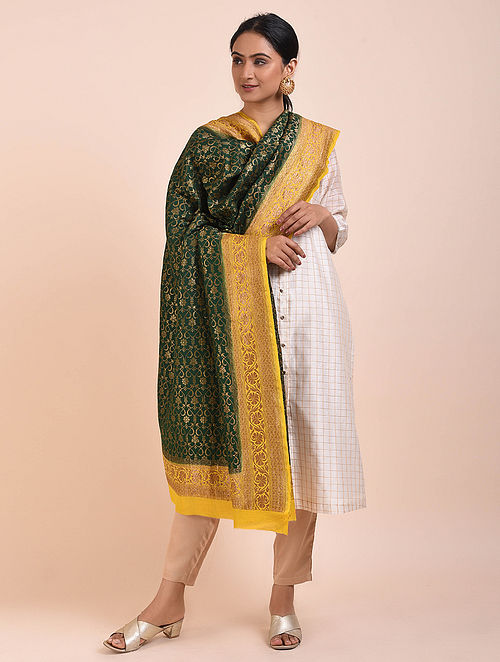 Green-Yellow Handwoven Benarasi Muga Silk Dupatta