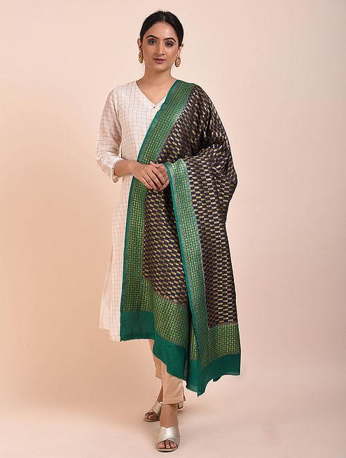 Black-Green Handwoven Benarasi Muga Silk Dupatta