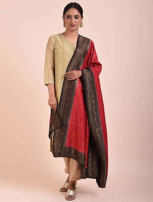 Red-Black Handwoven Benarasi Muga Silk Dupatta
